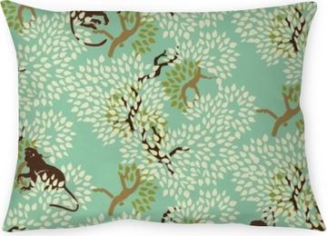 Funda de almohada Modelo inconsútil floral abstracto. árboles y monos. madera exótica