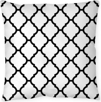 Funda de almohada Patrón transparente marroquí en blanco y negro