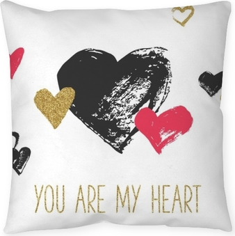 Funda de almohada Tarjeta de felicitación del día de San Valentín con corazones dibujados a mano. corazones de brillo negro, rojo y dorado.