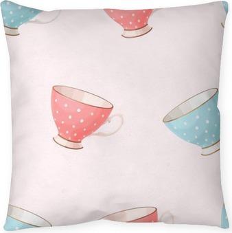 Funda de almohada Tazas de té de cosecha sin fisuras