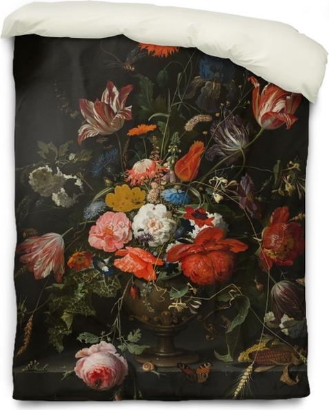 Funda de edredón Abraham Mignon - Flowers in a Metal Vase - Reproducciones