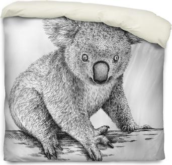Funda de edredón Blanco y negro, grabar, aislado, koala, ilustración