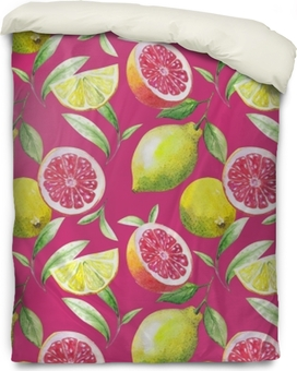 Funda de edredón Bonito patrón hecho a mano de hojas de té y cítricos: limón, pomelo, naranja, lima. acuarela.