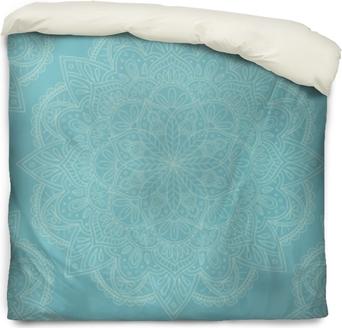 Funda de edredón Elegante diseño azul claro mandala sin patrón. perfecto para fondos y diseños de papel tapiz. ilustración vectorial