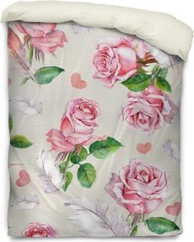 Funda de edredón Flores rosas, plumas y corazones. repitiendo el patrón floral retro. vendimia
