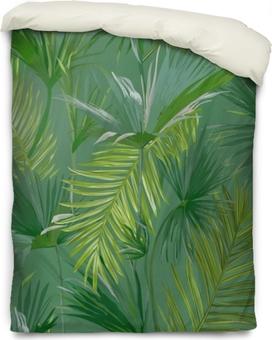 Funda de edredón Hojas de palmera tropical, selva hojas vector floral de fondo sin fisuras