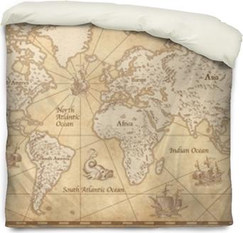 Funda de edredón Mapa del mundo ilustrado vintage
