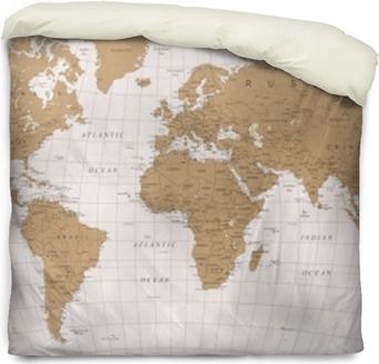 Funda de edredón Mapa del mundo vector vintage