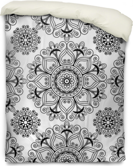 Funda de edredón Mehndi henna vector de fondo sin fisuras con elementos de decoración buta en estilo indio.