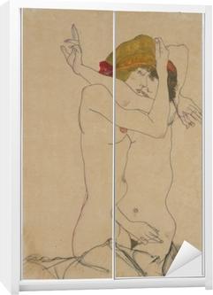 Egon Schiele - To Kvinder omfavne Garderobe klistermærke