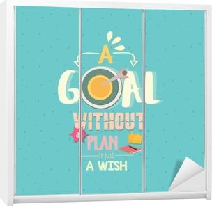 Et mål uden en plan er bare et ønske citat ord plakat Garderobe klistermærke