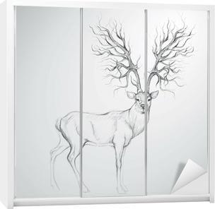 Hjorte med Antler som træ / Realistisk skitse Garderobe klistermærke