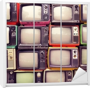 Mønster væg af bunke farverige retro tv (tv) - vintage filter effekt stil. Garderobe klistermærke