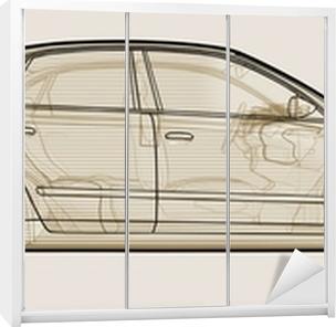 Perspektiv skitseret illustration af en Audi A4. Garderobe klistermærke