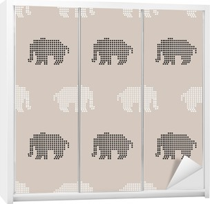 Problemfri elefant mønster Garderobe klistermærke