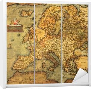 Reproduktion af det 16. århundrede kort over Europa Garderobe klistermærke