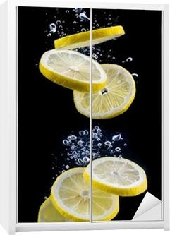 Skive citron i vandet Garderobe klistermærke