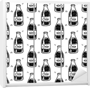 Sømløs mønster håndtegnet cola flaske. doodle black sketch. tegn symbol. dekorationselement. isoleret på hvid baggrund fladt design. vektor illustration Garderobe klistermærke