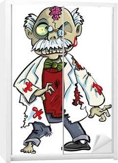 Tegneserie zombie videnskabsmand med hjerner viser. Isoleret på hvidt Garderobe klistermærke
