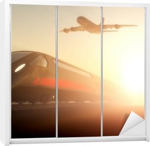 Toget og flyet Garderobe klistermærke