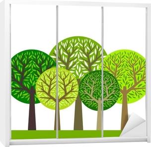Træ gruppe Garderobe klistermærke