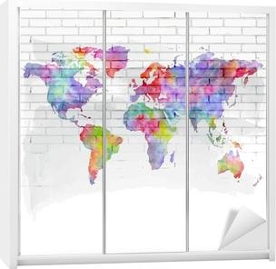 Vandfarve verdenskort på en mur Garderobe klistermærke