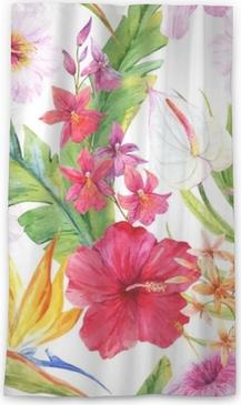 Genomlysande fönstergardin Akvarell tropiskt blommönster