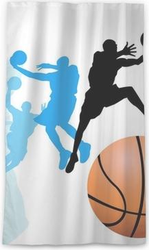 Genomlysande fönstergardin Basketspelare