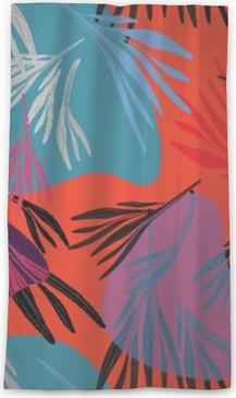 Genomlysande fönstergardin Tropisk färgrik palmblad bakgrund. vektor ljus sommar blommig illustration. lövverk trädtryck. exotisk skogsbruk ..