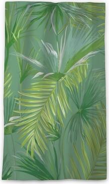 Genomlysande fönstergardin Tropiska palmblad, djungelbladen sömlösa vektor blommönster bakgrund