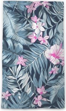 Genomlysande fönstergardin Vektor sömlösa ljusa färgstarka tropiska mönster med blommor, delat löv, philodendron, regnskog natur, sommartid semester, aktiva tropikerna bakgrundsbild