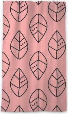 Genomlysande gardin Sömlös vektor skisserar lämnar mönster på rosa bakgrund. design för tapeter, tyg, textil, inslagning. enkel bakgrund