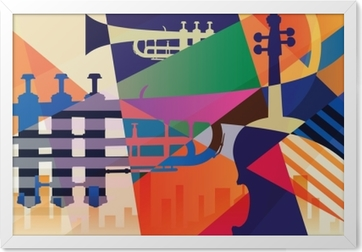 Gerahmtes Bild Abstraktes Jazzplakat, Musikhintergrund