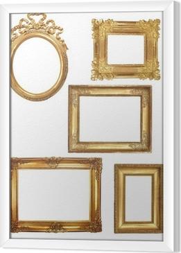 Gerahmtes Leinwandbild 5 alte Holzrahmen auf weißen Hintergrund Gold