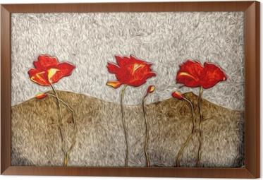 Gerahmtes Leinwandbild Abstrakte Blume Ölgemälde