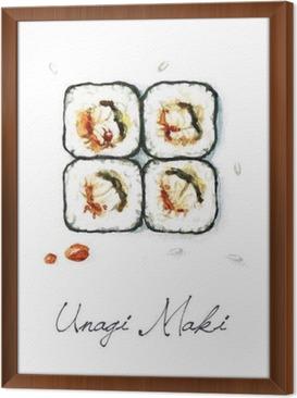 Gerahmtes Leinwandbild Aquarell Lebensmittel Malerei - Unagi Maki