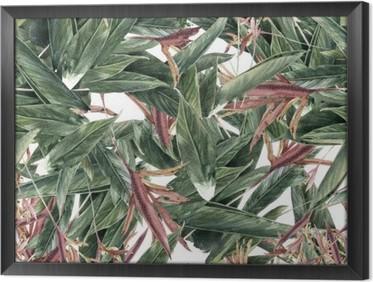 Gerahmtes Leinwandbild Aquarellmalerei Blatt und Blumen, nahtlose Muster
