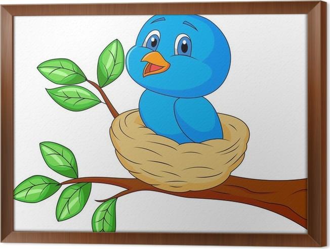 Gerahmtes Leinwandbild Blauer Vogel Cartoon im Nest • Pixers® - Wir ...