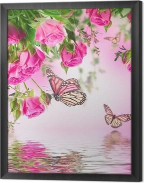 Gerahmtes Leinwandbild Bouquet von zarten Rosen und Schmetterling, floral background