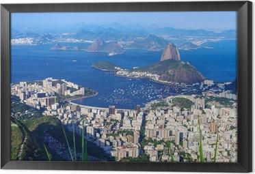 Gerahmtes Leinwandbild Der Berg Zuckerhut und Botafogo in Rio de Janeiro