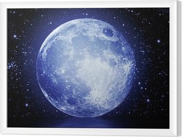 Gerahmtes Leinwandbild Der Vollmond am Nachthimmel spiegelt sich im Wasser