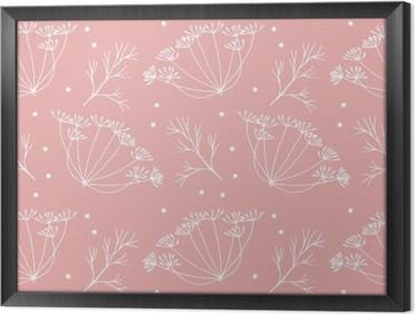 Gerahmtes Leinwandbild Dill oder Fenchel Blumen und verlässt Muster.