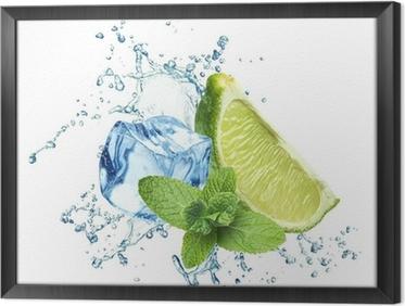 Gerahmtes Leinwandbild Eiswürfel, Minze, Spritzwasser und Kalk auf einem weißen