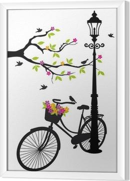 Gerahmtes Leinwandbild Fahrrad mit Lampe, Blumen und Bäumen, Vektor