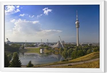 Gerahmtes Leinwandbild Fernsehtum von München im Olympiapark