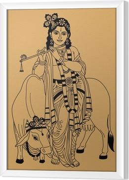 Gerahmtes Leinwandbild Indischen Gott