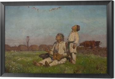 Gerahmtes Leinwandbild Józef Chełmoński - Storche