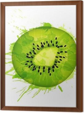Gerahmtes Leinwandbild Kiwifruchtscheibe bunte Spritzer auf weißen Hintergrund