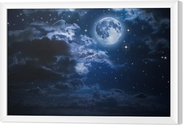 Gerahmtes Leinwandbild Mond und Wolken in der Nacht
