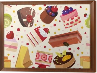 gerahmtes leinwandbild nahtlose kuchen muster - Kuchen Muster